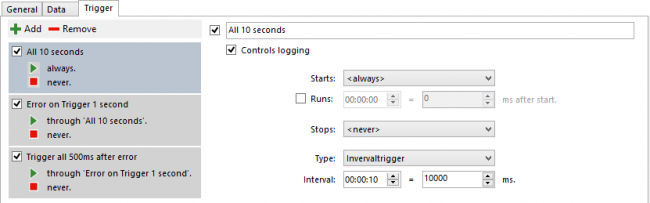 Specify the interval trigger